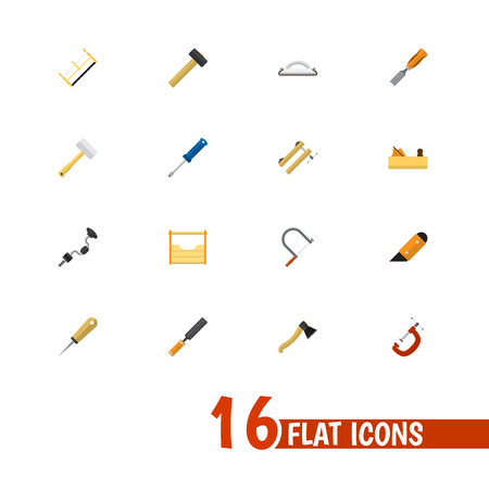 exchanger: Set Of 16 Editable Tools Icons. Includes Symbols Such As Boer, Emery Paper, Handsaw. Can Be Used For Web, Mobile, UI And Infographic Design. Illustration