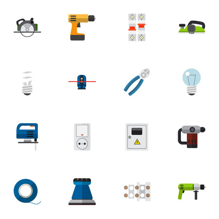 Set Of 16 Editable Electric Icons. Includes Symbols Such As Terminal Block, Nipper, Jig Saw And More. Can Be Used For Web, Mobile, UI And Infographic Design.