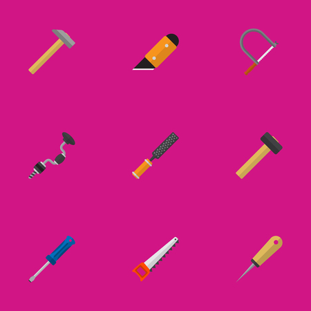 Set Of 9 Editable Tools Icons. Includes Symbols Such As Bodkin, Hammer, Rasp And More. Can Be Used For Web, Mobile, UI And Infographic Design.