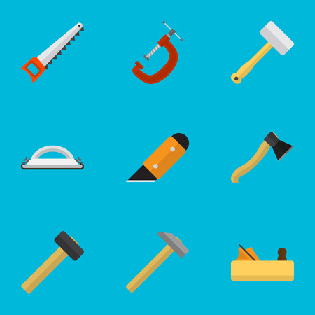 Set Of 9 Editable Equipment Icons. Includes Symbols Such As Nag, Malleus, Axe And More. Can Be Used For Web, Mobile, UI And Infographic Design.