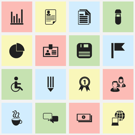 Set Of 16 Editable Bureau Icons. Includes Symbols Such As Dollar, Employee, Line Chart And More. Can Be Used For Web, Mobile, UI And Infographic Design. Vektoros illusztráció