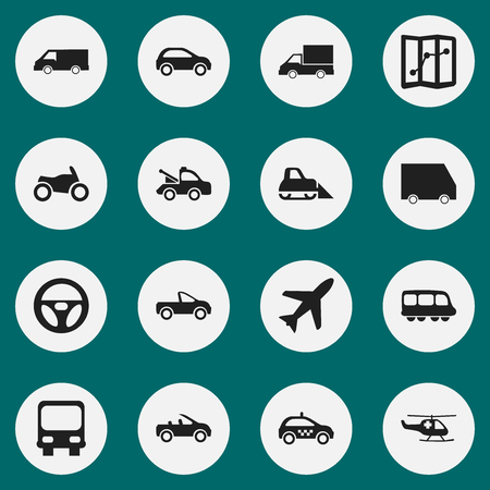 Set Of 16 Editable Transport Icons. Includes Symbols Such As Motorbus, Navigation, Van And More. Can Be Used For Web, Mobile, UI And Infographic Design. Illustration