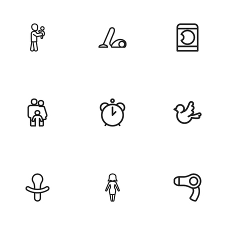 spinning: Set Of 9 Editable Kin Icons. Includes Symbols Such As Sweeper, Mom, People And More. Can Be Used For Web, Mobile, UI And Infographic Design.