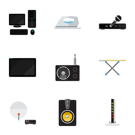 palmtop: Set Of 9 Editable Tech Icons. Includes Symbols Such As Personal Computer, Microphone, Palmtop And More. Can Be Used For Web, Mobile, UI And Infographic Design.