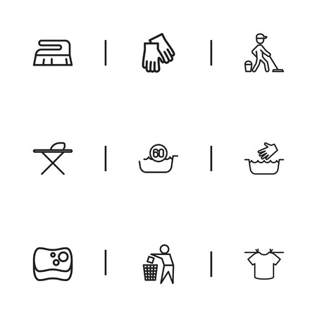 Set Of 9 Editable Hygiene Icons. Includes Symbols Such As Hot Water, Mopping, Brush And More. Can Be Used For Web, Mobile, UI And Infographic Design. Illustration