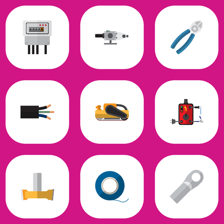 soldering: Set Of 9 Editable Electrical Icons. Includes Symbols Such As Nipper, Wire, Blowpipe And More. Can Be Used For Web, Mobile, UI And Infographic Design. Illustration