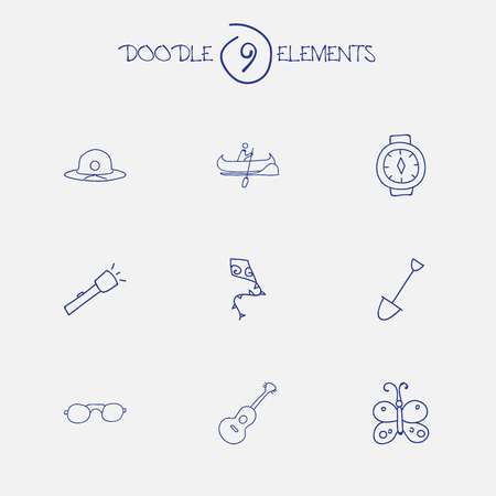Set Of 9 Editable Travel Icons. Includes Symbols Such As Shovel, Flashlight, Musical Instrument And More. Can Be Used For Web, Mobile, UI And Infographic Design.