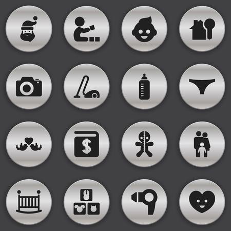 Set van 16 bewerkbare familieleden pictogrammen. Bevat symbolen zoals blokken, babyfles, opa. Kan worden gebruikt voor Web, Mobile, UI en Infographic Design. Stock Illustratie
