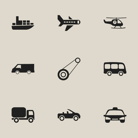 car speed: Set of 9 editable shipment icons includes symbols such as ship, airplane, taxi and more can be used for web, mobile, UI and infographic design.