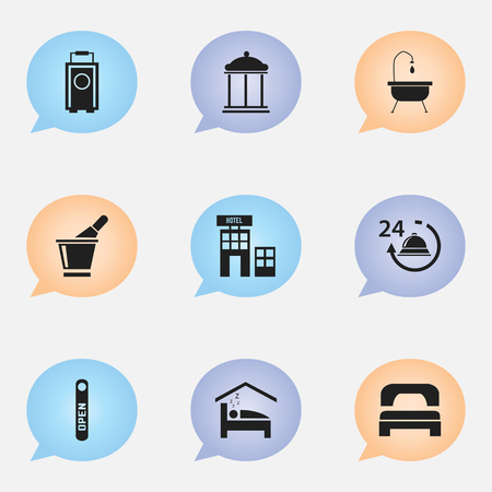 plaza: Set Of 9 Editable Hotel Icons. Includes Symbols Such As Champagne, Sleeping, Bedroom And More. Can Be Used For Web, Mobile, UI And Infographic Design.