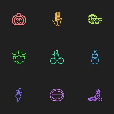 Set of 9 editable vegetable icons includes symbols such as pecan, plum, peas and more can be used for web, mobile, UI and infographic design. Illustration