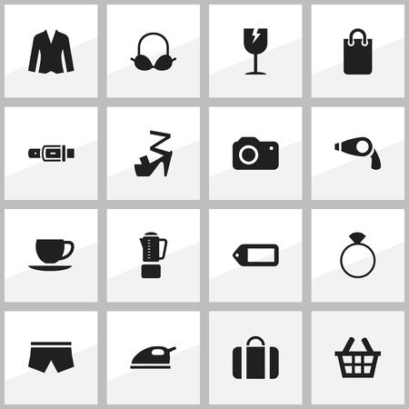 16 編集可能なショッピング アイコンのセットです。ラベル、水泳パンツ、スティレットなどの記号が含まれています。Web、モバイル、UI、インフォ   イラスト・ベクター素材