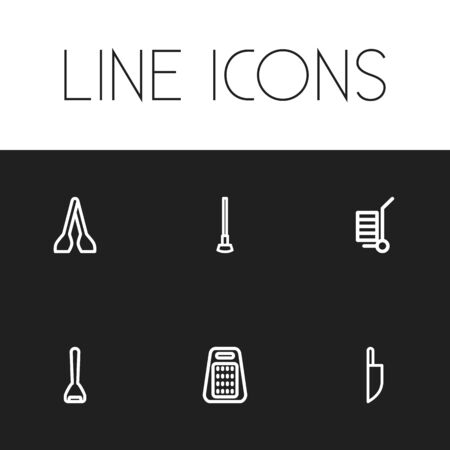 penknife: Set Of 6 Editable Tools Icons. Includes Symbols Such As Glass Cutter, Carriage, Knife And More. Can Be Used For Web, Mobile, UI And Infographic Design. Illustration