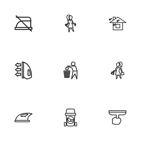 Set Of 9 Editable Hygiene Icons. Includes Symbols Such As Beauty, Do Not Iron, Brooming And More. Can Be Used For Web, Mobile, UI And Infographic Design.