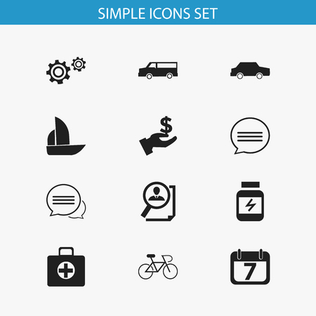 velocipede: Set Of 12 Editable Mixed Icons. Includes Symbols Such As Yacht, Chatting, Velocipede And More. Can Be Used For Web, Mobile, UI And Infographic Design.