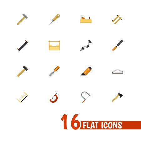 Set Of 16 Editable Instrument Icons. Includes Symbols Such As Jointer, Hacksaw, Emery Paper And More. Can Be Used For Web, Mobile, UI And Infographic Design.