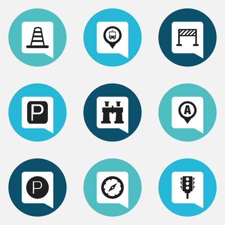 Set van 9 bewerkbare richting iconen. Bevat symbolen zoals verkeersbord, markering, stoplicht en meer. Kan worden gebruikt voor Web, Mobile, UI en Infographic Design.