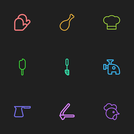 Set Of 9 Editable Food Icons. Includes Symbols Such As Oven-Glove, Spatula, Fried Leg And More. Can Be Used For Web, Mobile, UI And Infographic Design. Illustration