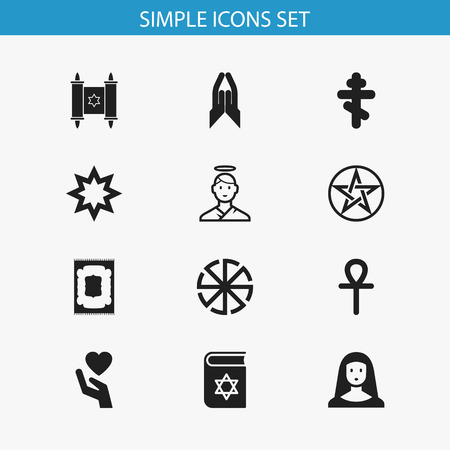 persuasion: Set Of 12 Editable Faith Icons. Includes Symbols Such As Pentagram, Cherub, David Star And More. Can Be Used For Web, Mobile, UI And Infographic Design. Illustration