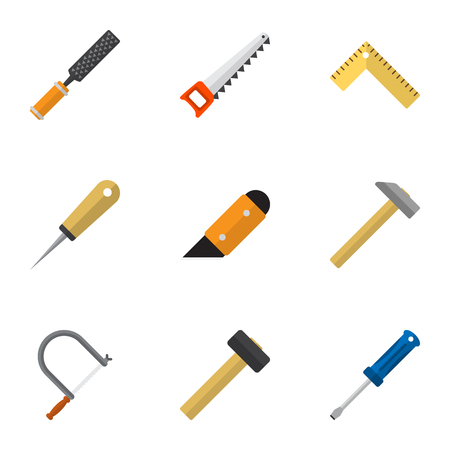 Set Of 9 Editable Tools Icons. Includes Symbols Such As Malleus, Hammer, Bodkin And More. Can Be Used For Web, Mobile, UI And Infographic Design. Illustration