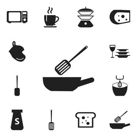 piece: Set Of 12 Editable Kitchen Icons. Includes Symbols Such As Kitchen Shovel, Potholder, Wave Oven And More. Can Be Used For Web, Mobile, UI And Infographic Design.