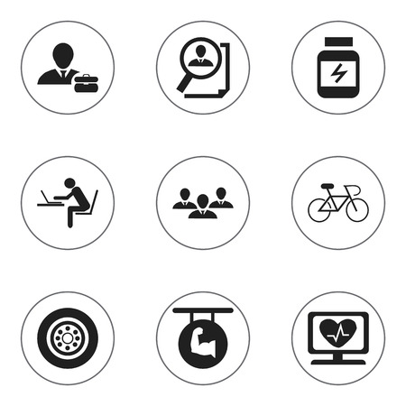 velocipede: Set Of 9 Editable Complex Icons. Includes Symbols Such As Employee, Programmer, Biceps And More. Can Be Used For Web, Mobile, UI And Infographic Design.