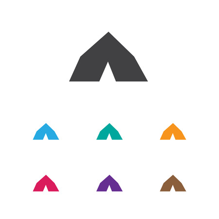 Vector Illustration Of Trip Symbol On Tent Icon. Premium Quality Isolated Tepee Element In Trendy Flat Style. Illustration