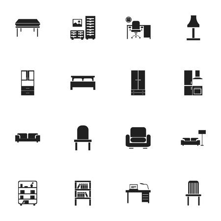 Set van 16 bewerkbare interieur pictogrammen. Bevat symbolen zoals kledingkast, bank, kast en meer. Kan worden gebruikt voor Web, Mobile, UI en Infographic Design.