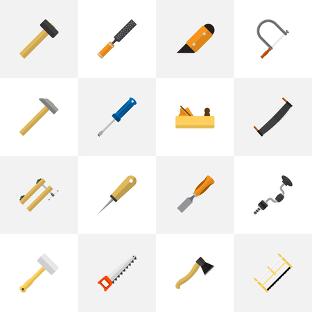 Set Of 16 Editable Apparatus Icons. Includes Symbols Such As Bodkin, Bit, Clamp And More. Can Be Used For Web, Mobile, UI And Infographic Design.