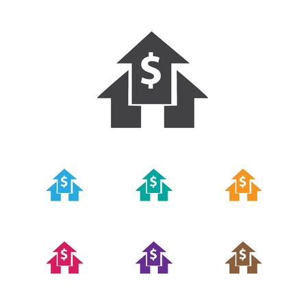 logical: Vector Illustration Of Analytics Symbol On Home Money Icon. Premium Quality Isolated Banking House Element In Trendy Flat Style.