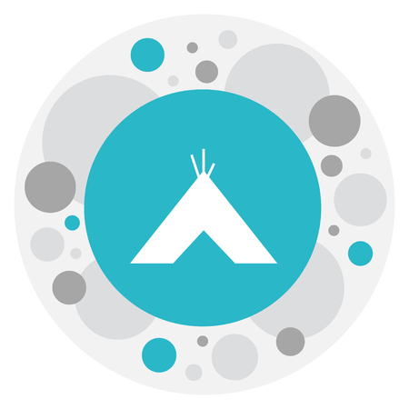 Vector Illustration Of Travel Symbol On Tepee Icon. Premium Quality Isolated Tabernacle Element In Trendy Flat Style.