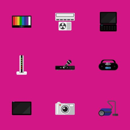 viewing: Set Of 9 Editable Tech Icons. Includes Symbols Such As Notebook, Cassette Player, Microphone And More. Can Be Used For Web, Mobile, UI And Infographic Design.