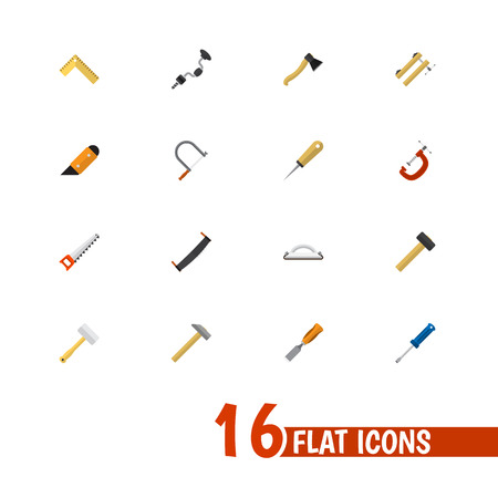 Set Of 16 Editable Apparatus Icons. Includes Symbols Such As Tool, Bodkin, Hammer And More. Can Be Used For Web, Mobile, UI And Infographic Design. Stock Photo