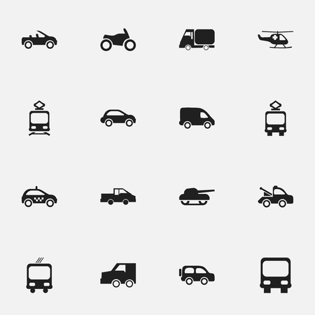conveyor rail: Set Of 16 Editable Shipment Icons. Includes Symbols Such As Suv, Transportation, Auto And More. Can Be Used For Web, Mobile, UI And Infographic Design. Stock Photo