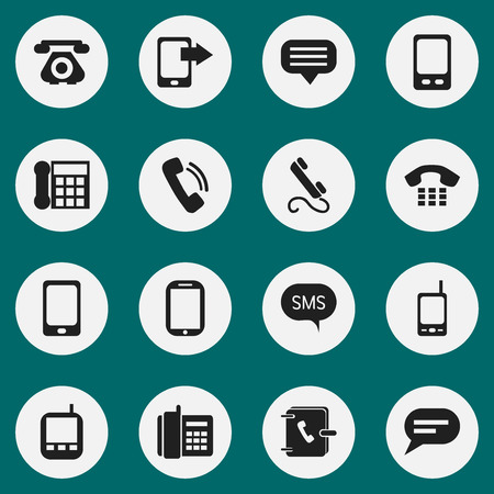 gps device: Set Of 16 Editable Phone Icons. Includes Symbols Such As Retro Telecommunication, Talking, Message And More. Can Be Used For Web, Mobile, UI And Infographic Design. Illustration