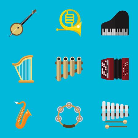 Conjunto De 9 Iconos Editable De Los Medios. Incluye símbolos como flauta, piano, palos y más. Puede ser utilizado para Web, Mobile, UI y diseño Infográfico.