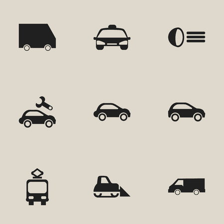 luminary: Set Of 9 Editable Transportation Icons. Includes Symbols Such As Cable Railway, Food Transport, Luminary And More. Can Be Used For Web, Mobile, UI And Infographic Design.
