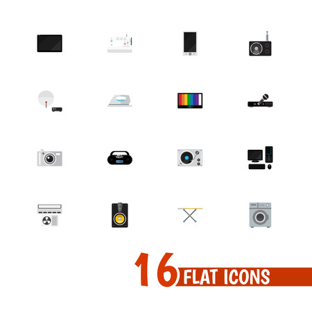 Set Of 16 Editable Home Icons. Includes Symbols Such As Personal Computer, Megaphone, Microphone And More. Can Be Used For Web, Mobile, UI And Infographic Design.