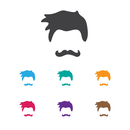 Vector Illustration Of Coiffeur Symbol On Stylish Icon. Premium Quality Isolated Stubble Element In Trendy Flat Style.