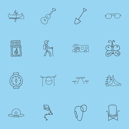 Set Of 16 Editable Camping Icons. Includes Symbols Such As Picnic, Flying Toy, Flammable Stick And More. Can Be Used For Web, Mobile, UI And Infographic Design.