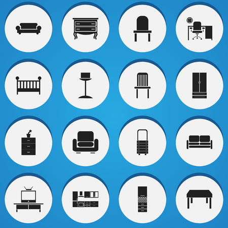 Set Of 16 Editable Interior Icons. Includes Symbols Such As Divan, Cooking Furnishings, Wall Mirror And More. Can Be Used For Web, Mobile, UI And Infographic Design.