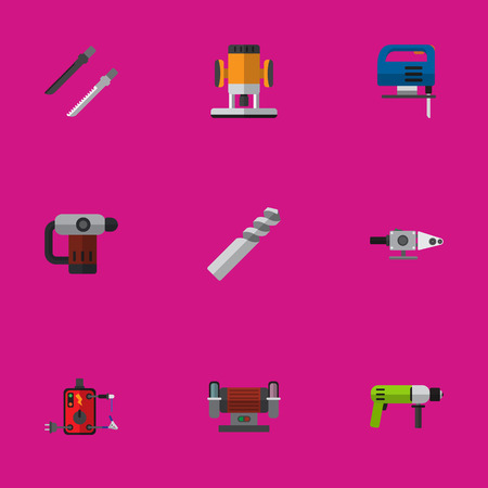 Set Of 9 Editable Instruments Icons. Includes Symbols Such As Borer, Inserting Nails, Jig Saw And More. Can Be Used For Web, Mobile, UI And Infographic Design. Illustration