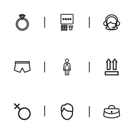 9 編集可能なショッピング アイコンのセットです。女性のバッグ、演算子、男性の顔などの記号が含まれています。Web、モバイル、UI、インフォ グ