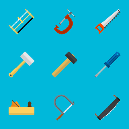 Set Of 9 Editable Equipment Icons. Includes Symbols Such As Nag, Tool, Turn-Screw And More. Can Be Used For Web, Mobile, UI And Infographic Design. Illustration