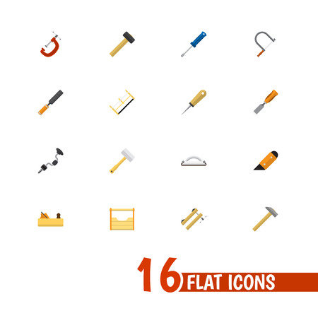 Set Of 16 Editable Tools Icons. Includes Symbols Such As Handsaw, Hammer , Instruments. Can Be Used For Web, Mobile, UI And Infographic Design.