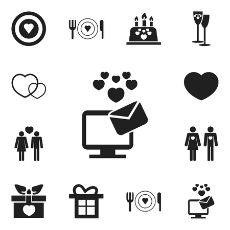 heart monitor: Set Of 12 Editable Passion Icons. Includes Symbols Such As Plate, Cake, Soul And More. Can Be Used For Web, Mobile, UI And Infographic Design. Illustration