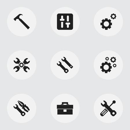Ensemble de 9 icônes de mécanicien modifiables. Inclut des symboles tels que l'égaliseur, le portefeuille, le support technique, etc. Peut être utilisé pour la conception Web, mobile, UI et infographique. Banque d'images - 82095797