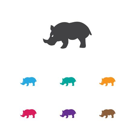 Vector Illustration Of Animal Symbol On Rhinoceros Icon. Premium Quality Isolated Rhino Element In Trendy Flat Style.