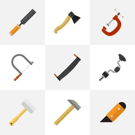 hatchet: Set Of 9 Editable Tools Icons. Includes Symbols Such As Knife, Clinch, Boer And More. Can Be Used For Web, Mobile, UI And Infographic Design. Illustration
