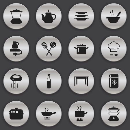 Set Of 16 Editable Cook Icons. Includes Symbols Such As Whisk, Fridge, Cooking Pot And More. Can Be Used For Web, Mobile, UI And Infographic Design.